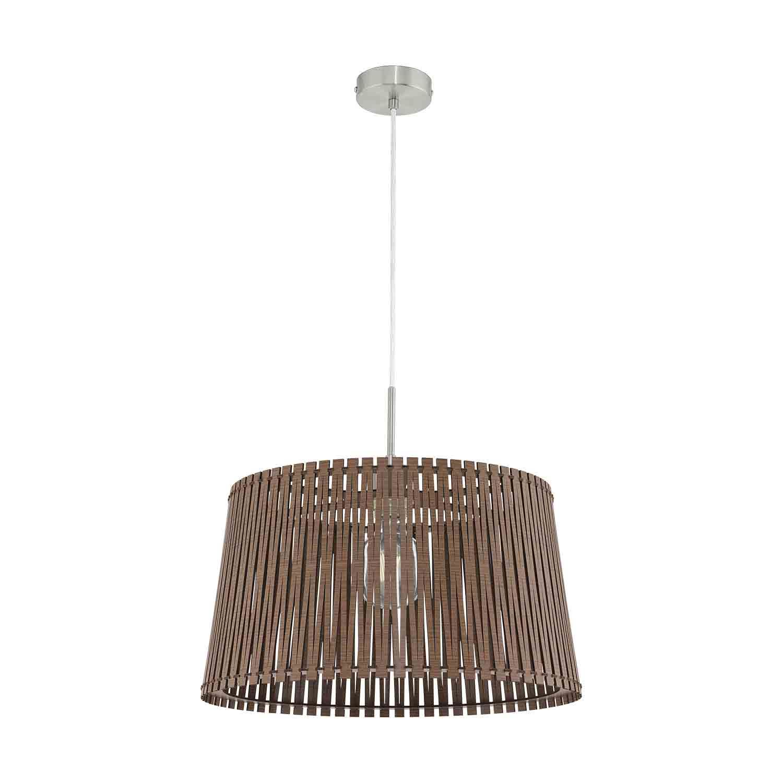 Sendero 1 Hanging Light E27 Dia 450mm Wood Shade Dark Brown