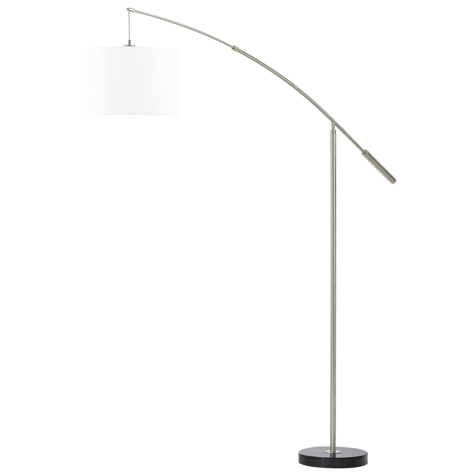 Nadina Modern Floor Lamp 1 Light Fabric White Shade Foot Switch