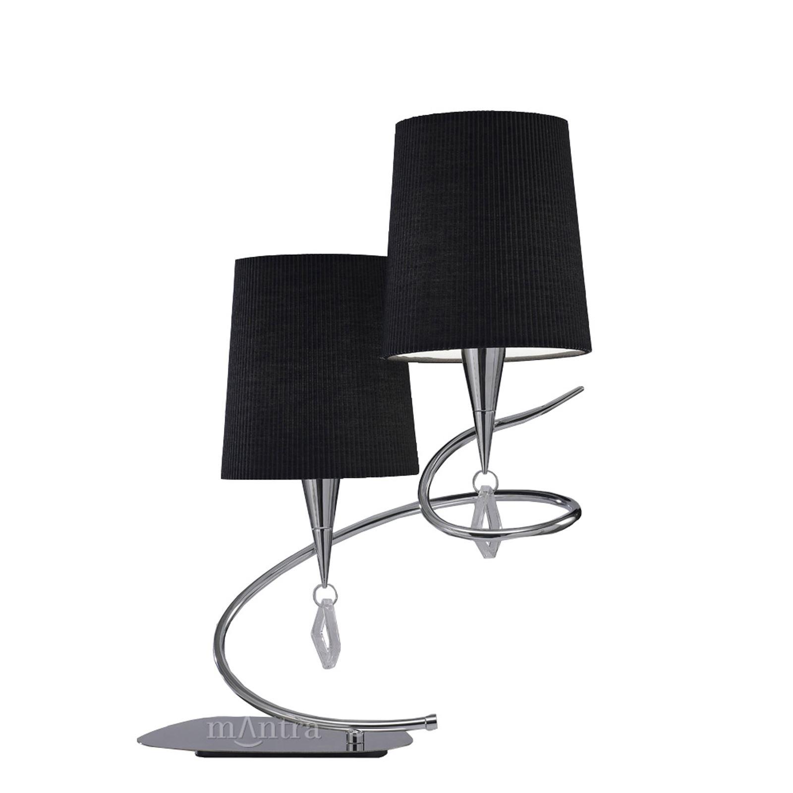 Mara Table Lamp 2 Light Polished Chrome/Black - Stylish Pleated Shade