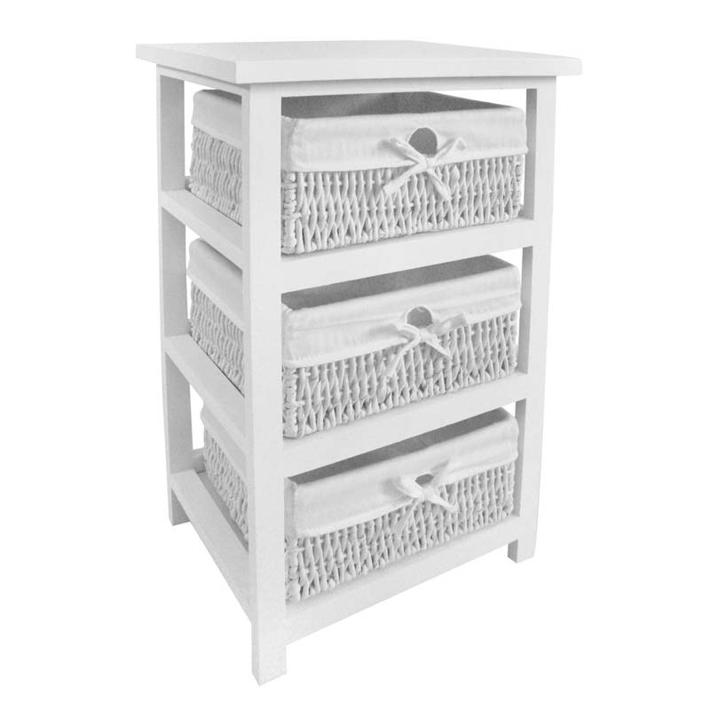 White Storage Unit,3 Maize Baskets With Cotton Liners,Paulownia Wood
