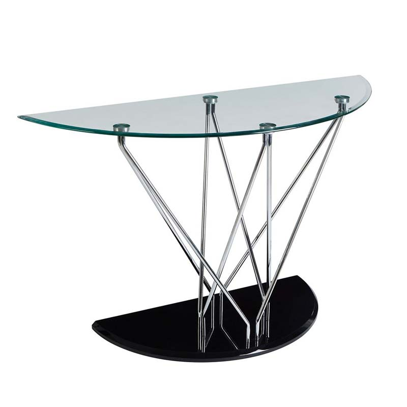 Halo Half Moon Console Table,Tempered Glass,Cross Chrome & Black Base