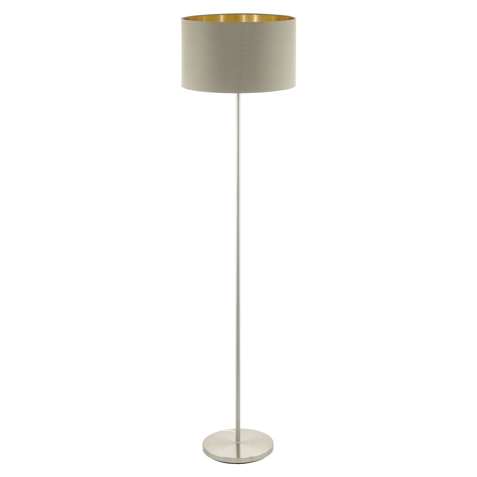 Maserlo Steel Satin Nickel Floor Lamp 1 Light With Taupe-Gold Shade