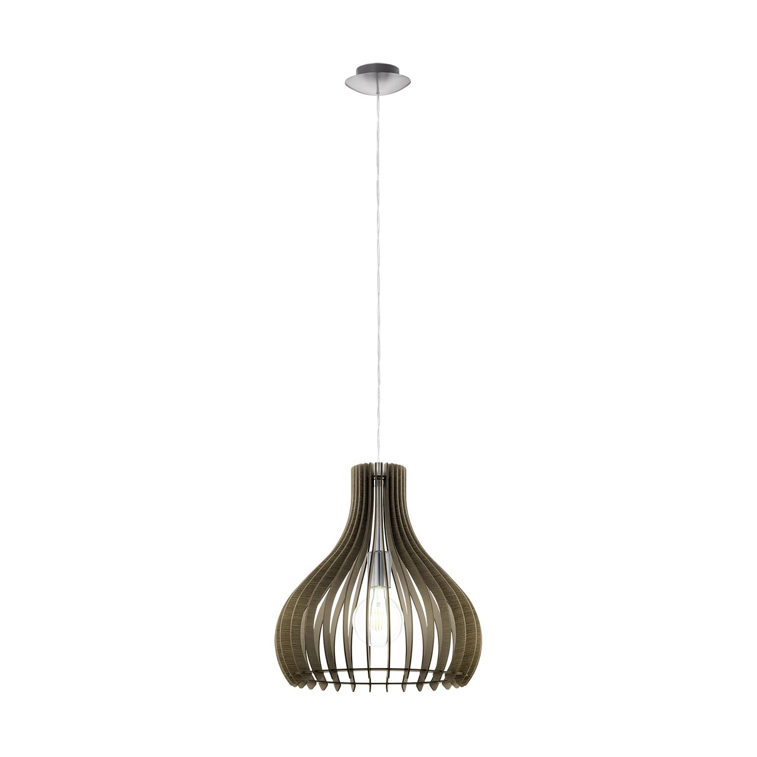 Tindori Satin Nickel 1 Hanging Light Wood Brown Shade