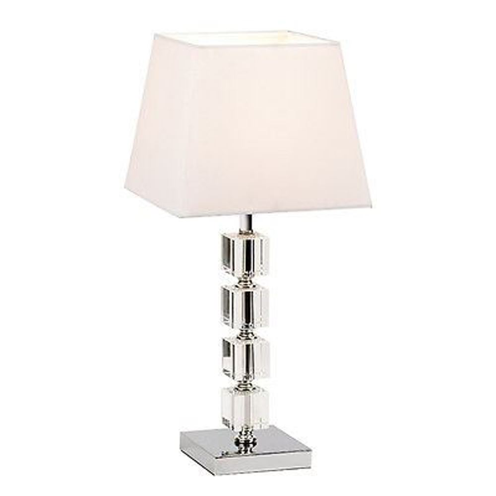 Beautiful Clear Acrylic Cubes Table Lamp With White Cotton Mix Fabric Shade