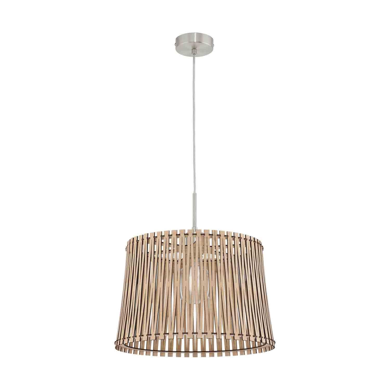 Sendero Steel 1 Hanging Light E27 Dia 380mm Maple Wood Shade
