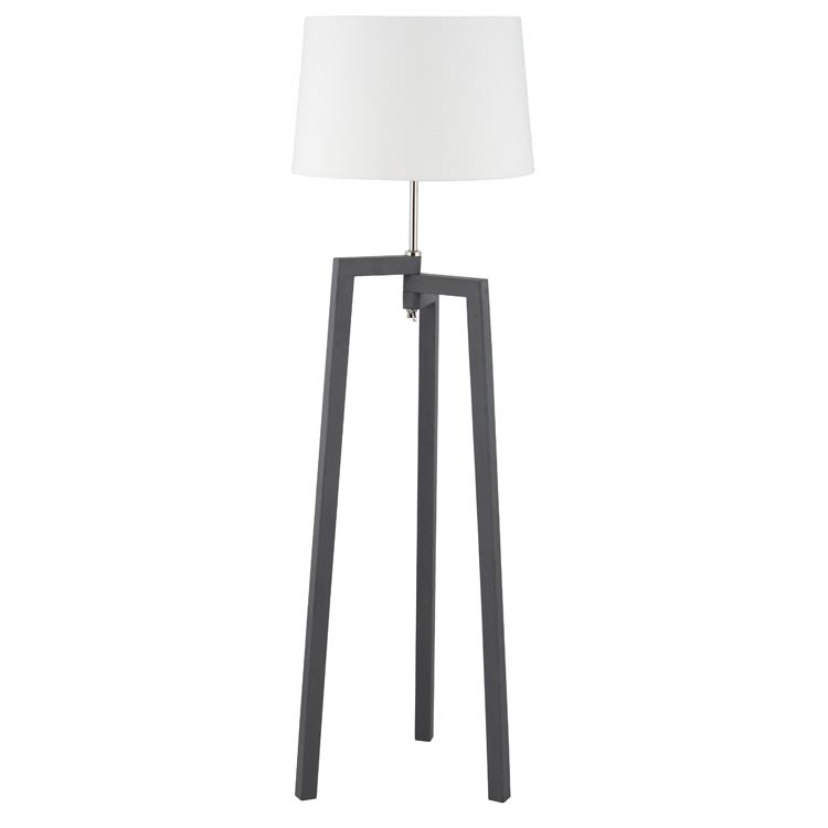 Modern Grey Wood Tripod Floor Lamp Base With Shade