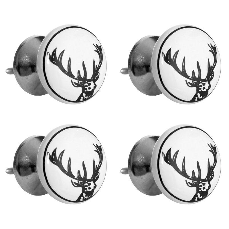 Set of 4 Stag Head Drawer Knobs, Ceramic / Metal, Black / White