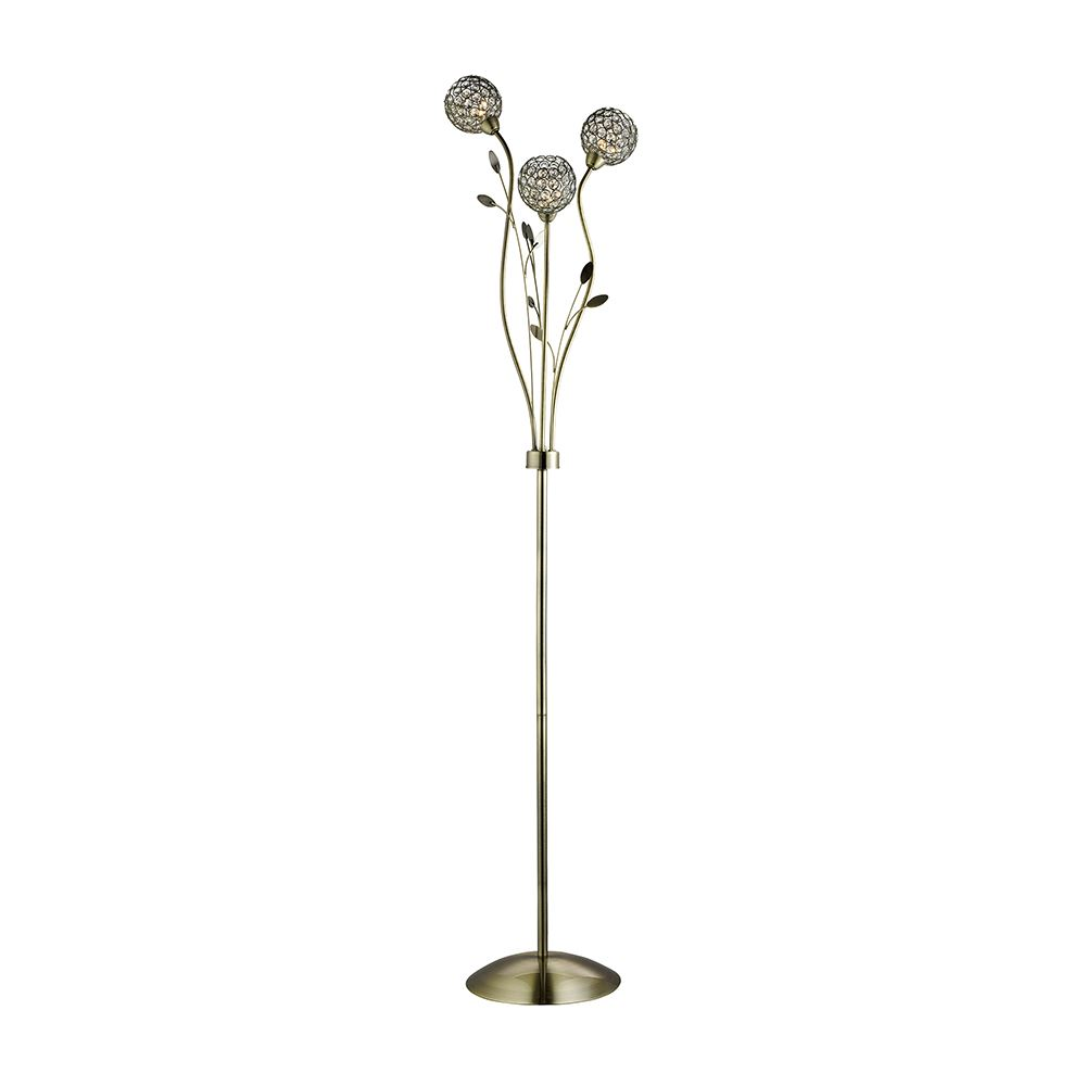 Bellis Ii - 3 Light Floor Lamp, Antique Brass With Clear Glass Deco Shades