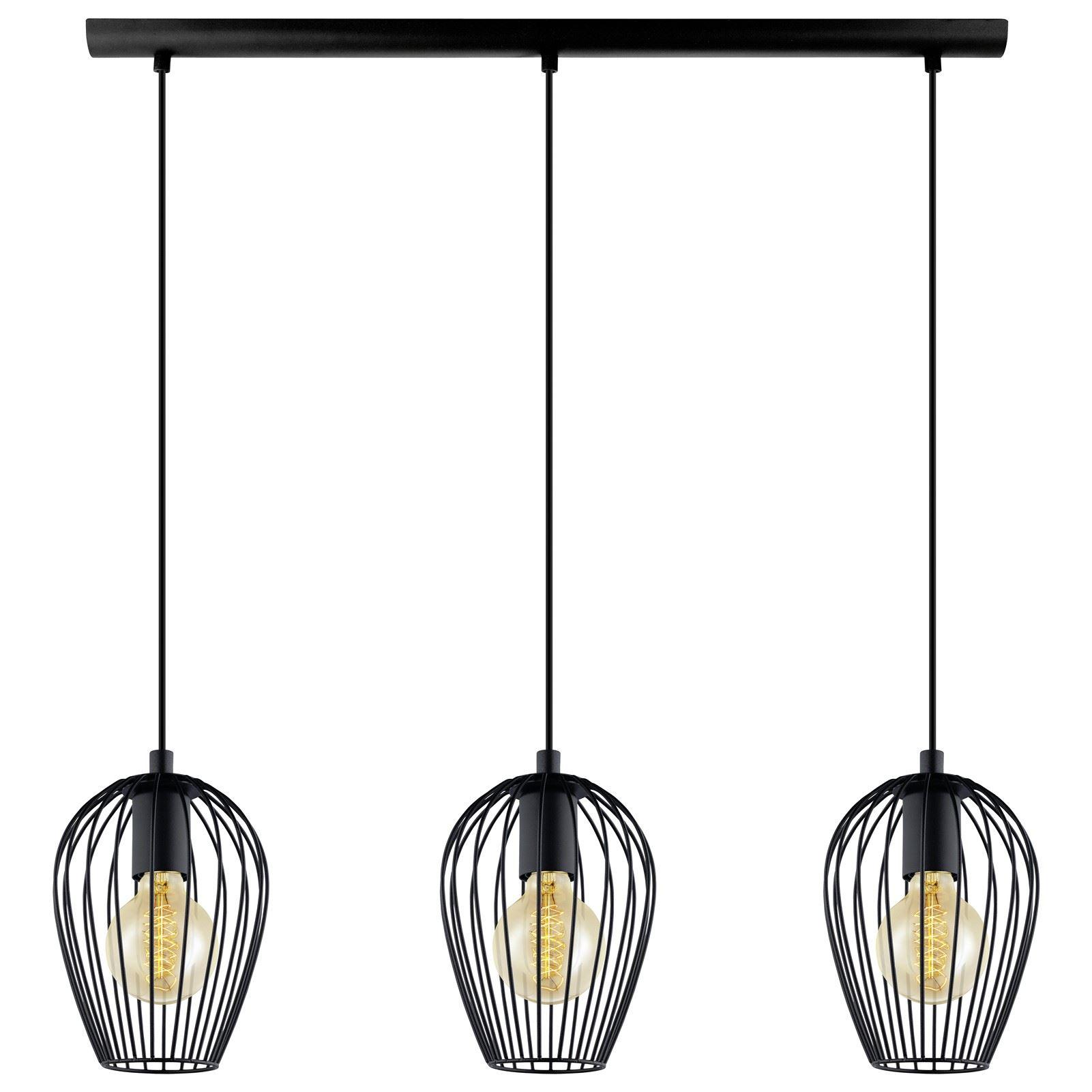 Newtown Steel Hanging 3 Light E27 Pendant Light Black