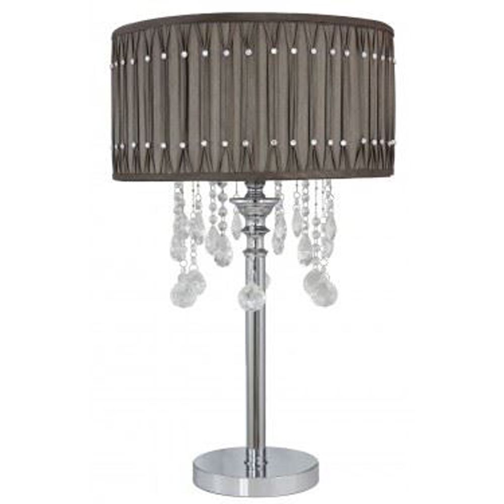 Chrome Taupe Table Lamp Studded Pleated Shade - Light Decor