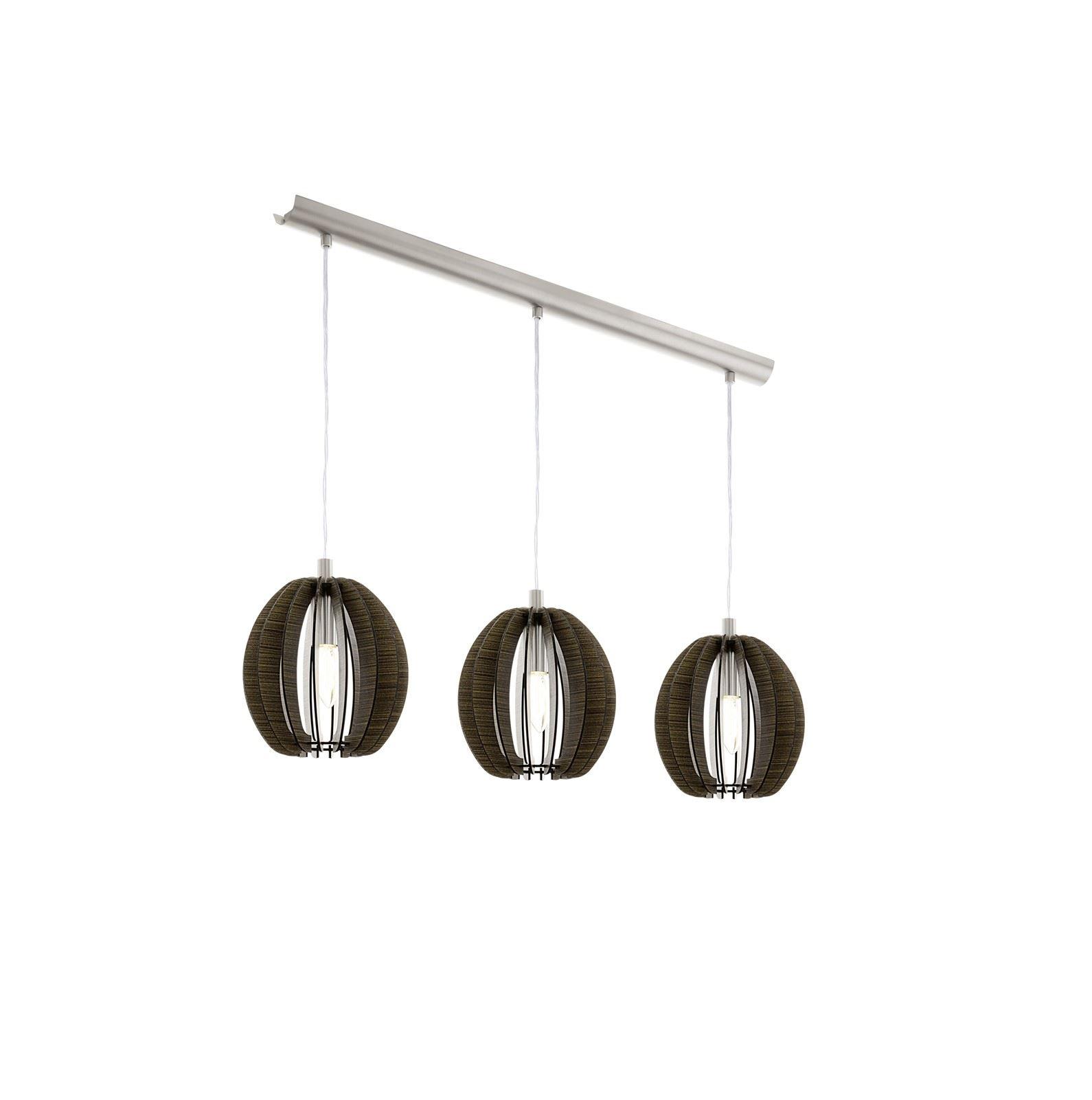 Cossano Steel 3 Hanging Light E14 Dark Brown Wood Shade