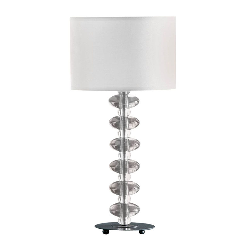 Stylish Clear Acrylic Bobble Lamp With White Chic Fabric Shade