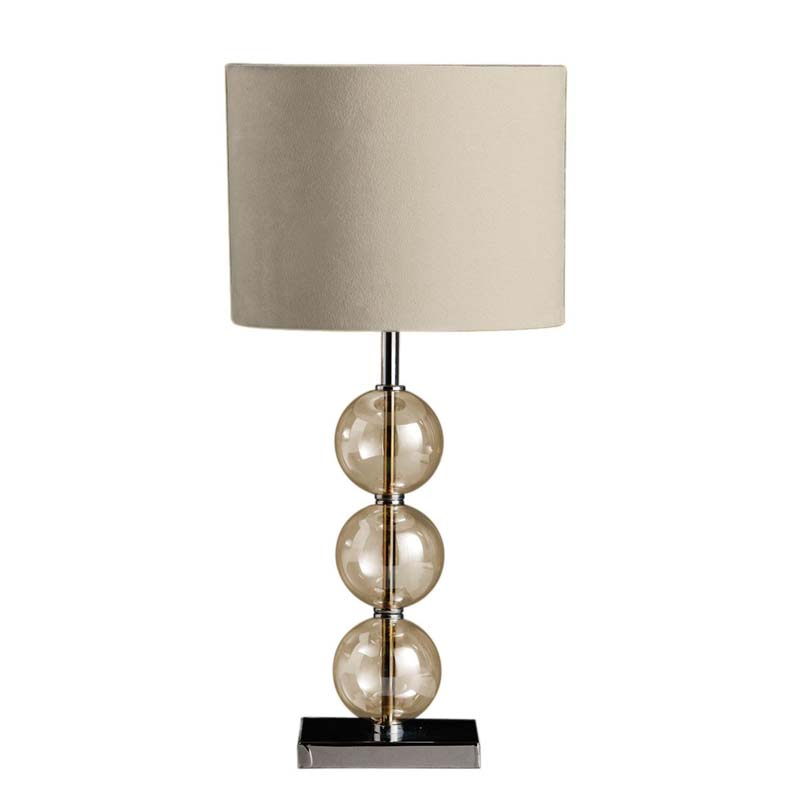 Modern Style Chrome Table Lamp & Glass Balls With Cream Shade