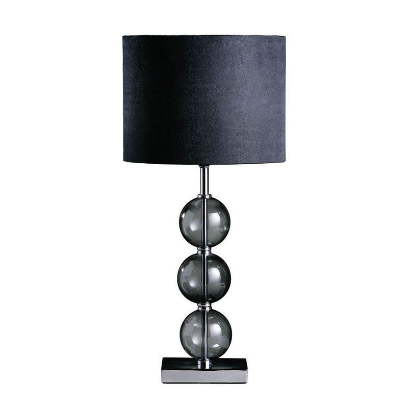 Mistro Chrome Table Lamp With Black Suede Effect Shade & Smoked Glass Detail