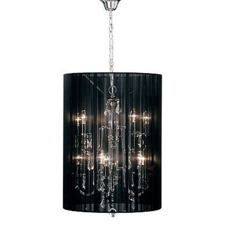 10 Arms Chandelier & Chrome Effect Glass Droplets With Black Shade