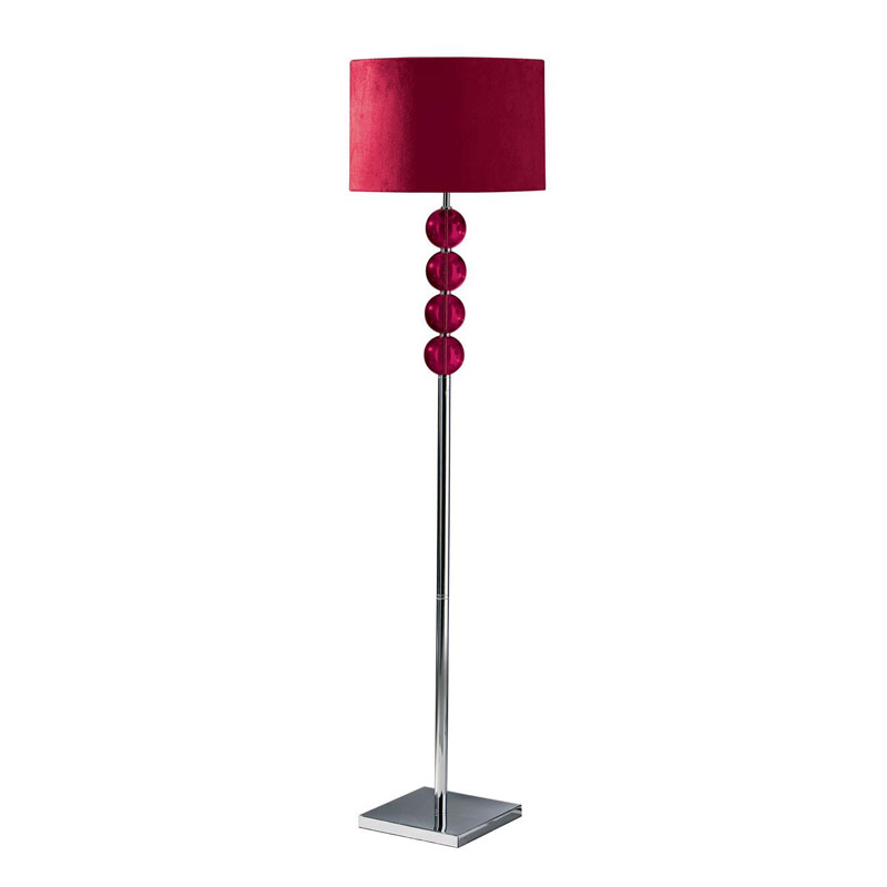 Mistro Floor Lamp, Feature Chrome Base, Red Suede Effect Shade