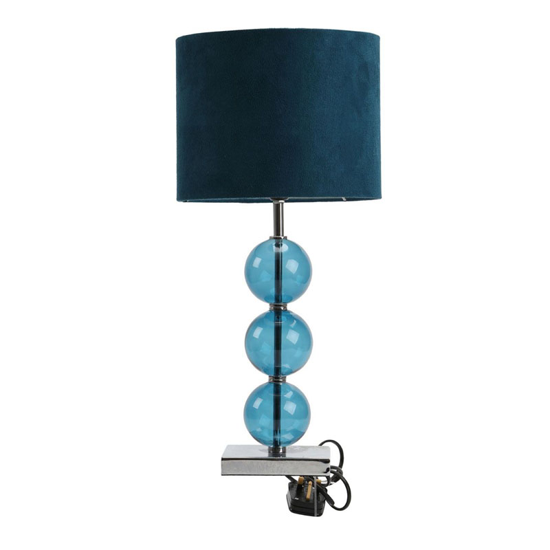 Stylish Table Lamp Feature Chrome Base Teal Suede Effect Shade
