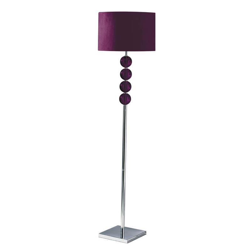Mistro Floor Lamp, Feature Chrome Base, Purple Suede Effect Shade