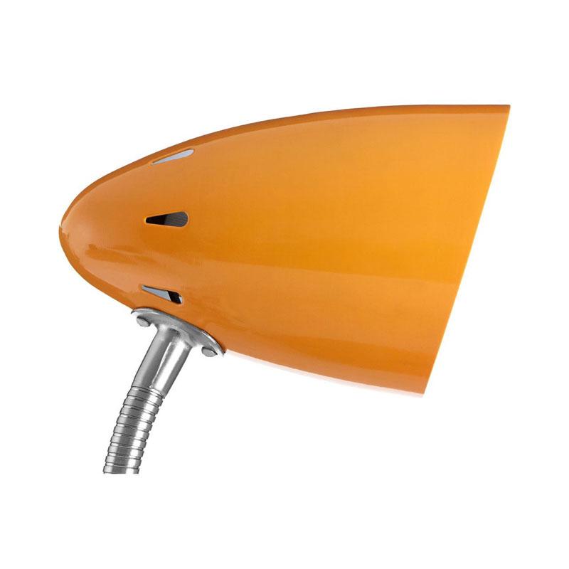 Desk Lamp, Orange Gloss, Chrome Flexible Stem