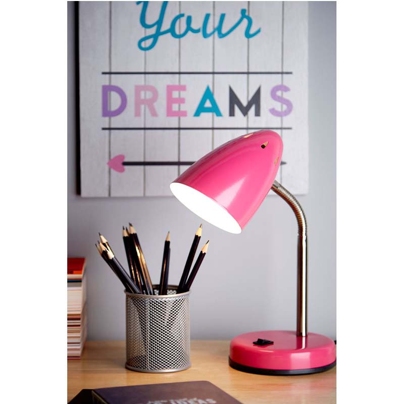 Desk Lamp, Pink Gloss, Chrome Flexible Stem