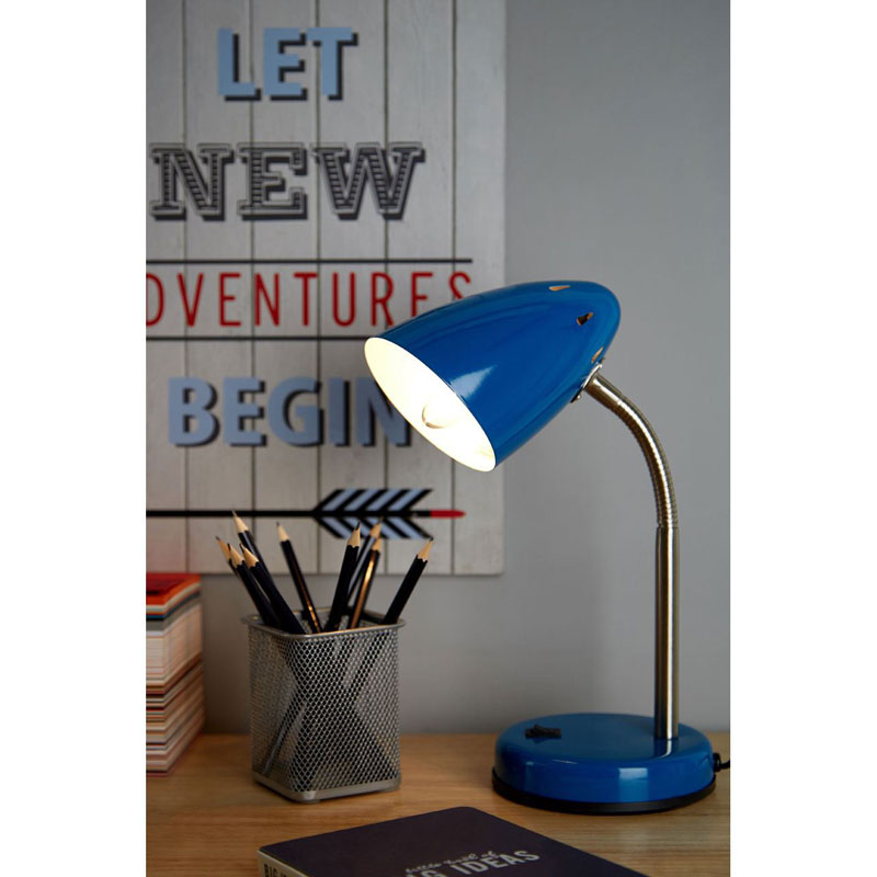 Desk Lamp, Blue Gloss, Chrome Flexible Stem