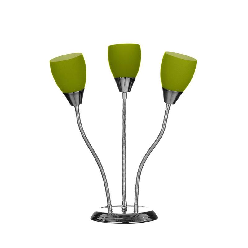 Stylish Table Lamp, Green Glass Shades, Flexible Chrome Base