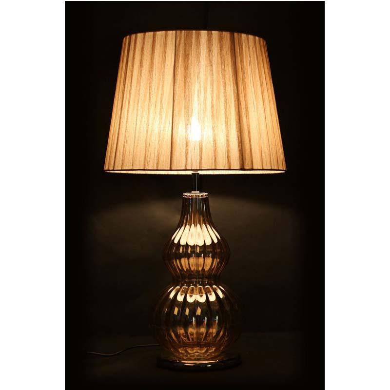 Elegant Bubble Metal/Glass Base Striking Table Lamp Fabric Shade