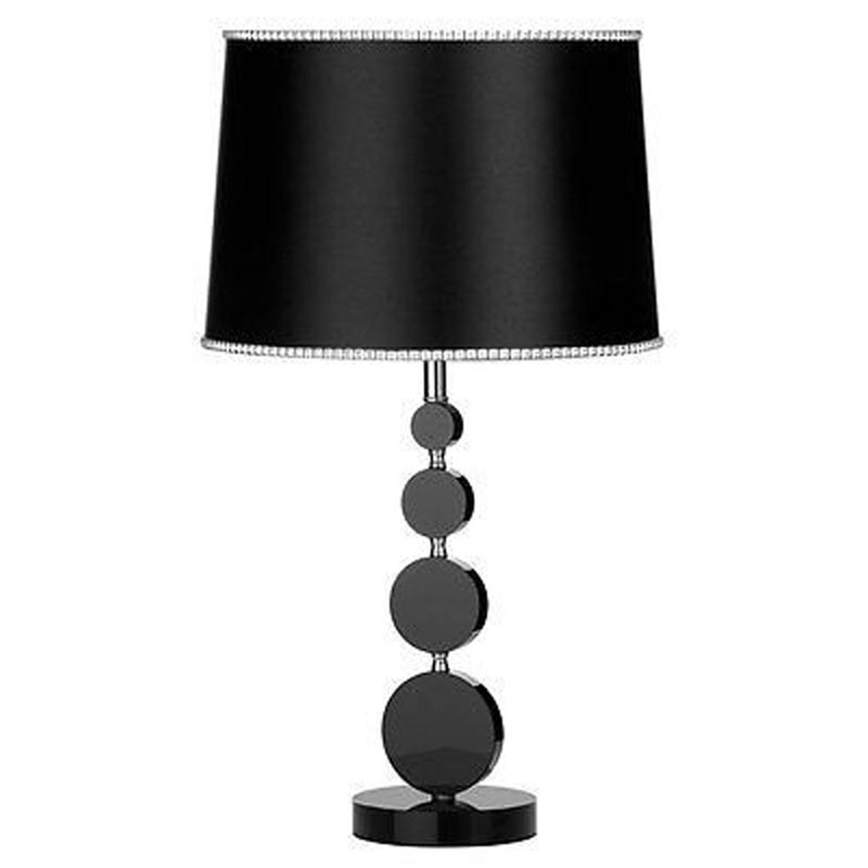 Elegant Style Crystal Stacked Design Table Lamp With Black Fabric Shade - Home Lighting