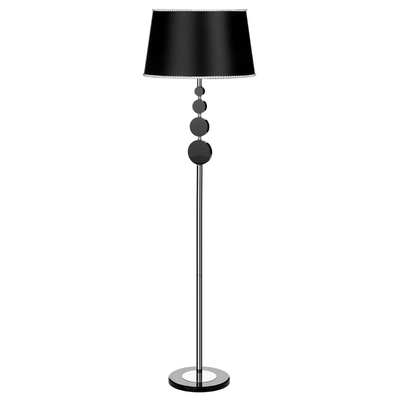 Elliptical Floor Lamp, Metal / Crystal Base, Fabric/ Shade
