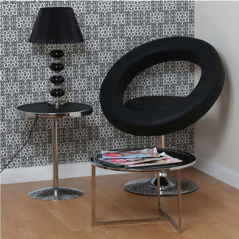 Black Fabric Shade Designer Table Lamp Black Ceramic Pebbles