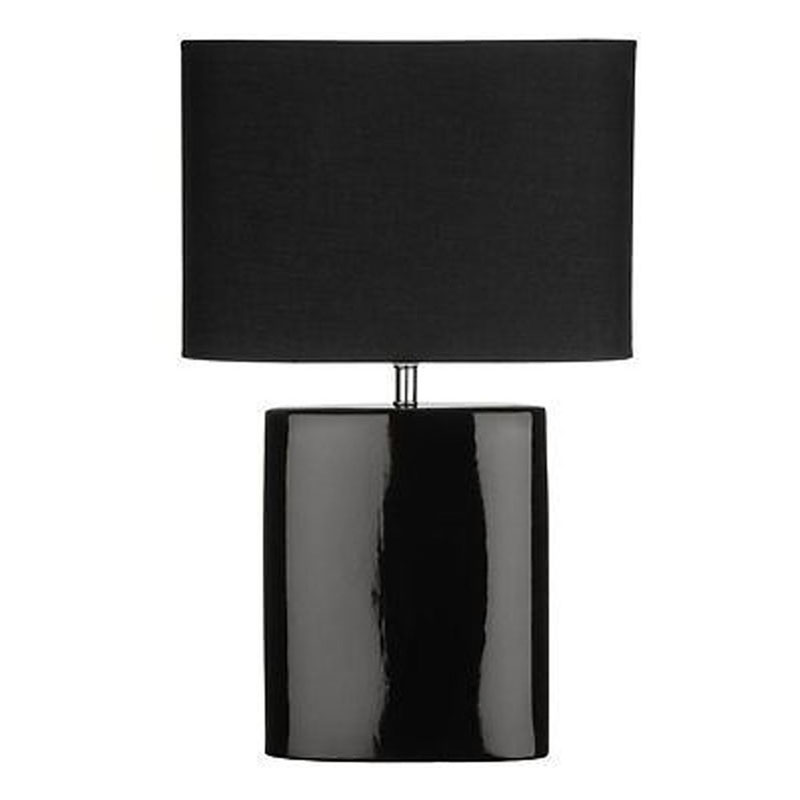 Ellipse Chic Style Black Ceramic Table Lamp With Black Fabric Shade