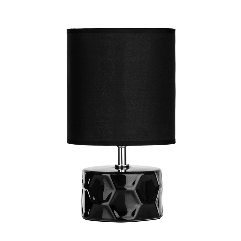 Honeycomb Black Ceramic Table Lamp - Stunning Black Fabric Shade