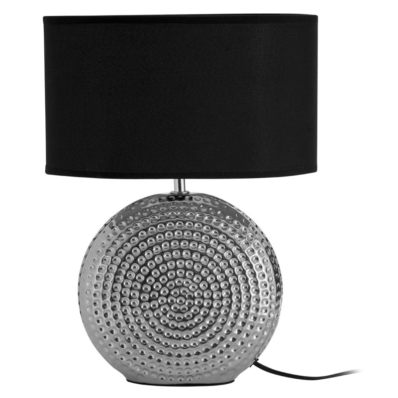 Silver Ceramic Table Lamp & Hammered Chrome Finish