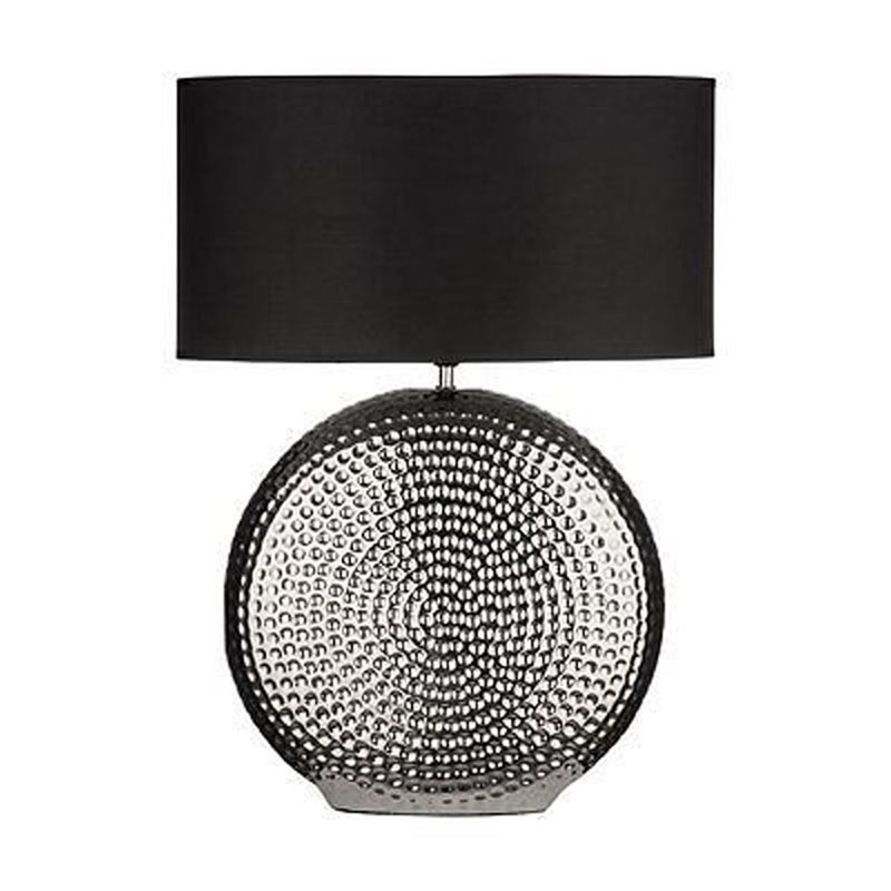 Modern Ceramic Table Lamp Hammered Chrome Finish