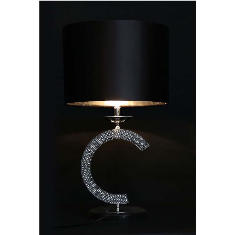 Glittering C Table Lamp Metal/Marble Base, Black Fabric Shade