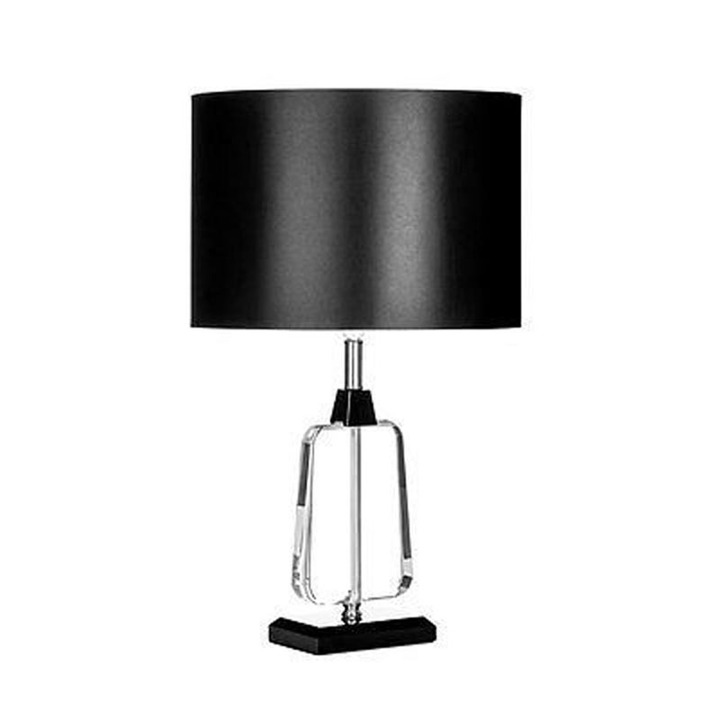 Table Lamp, Crystal/Metal Base With Stylish Black Fabric Shade