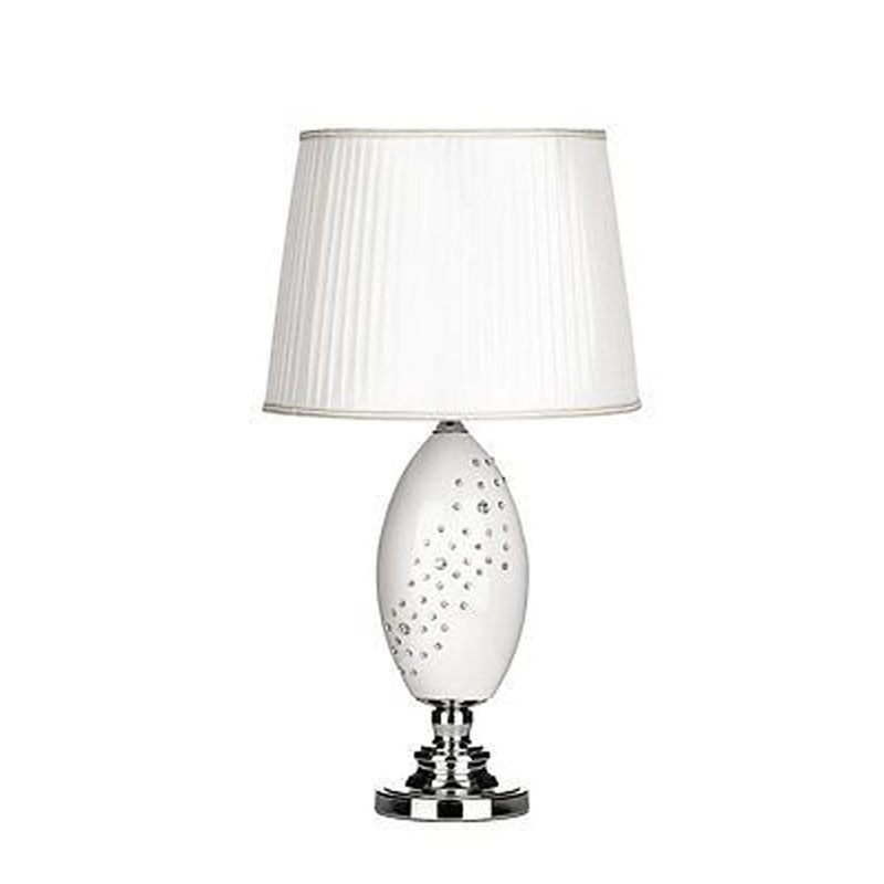 Designer Ceramic Table Lamp With Fabric Shade - Crystal Detail