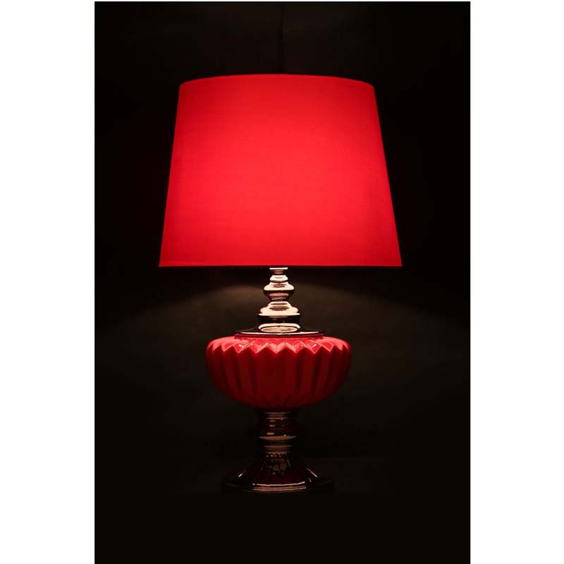 Red Ceramic Table Lamp With Red Fabric Shade