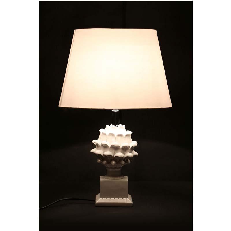 Melano White Fabric Shade White Polyresin Striking Table Lamp