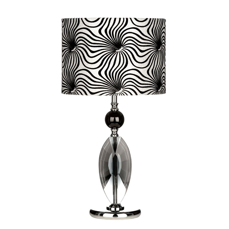 Crystal Table Lamp,/Metal Base, Fabric Shade - Modern Home Decor