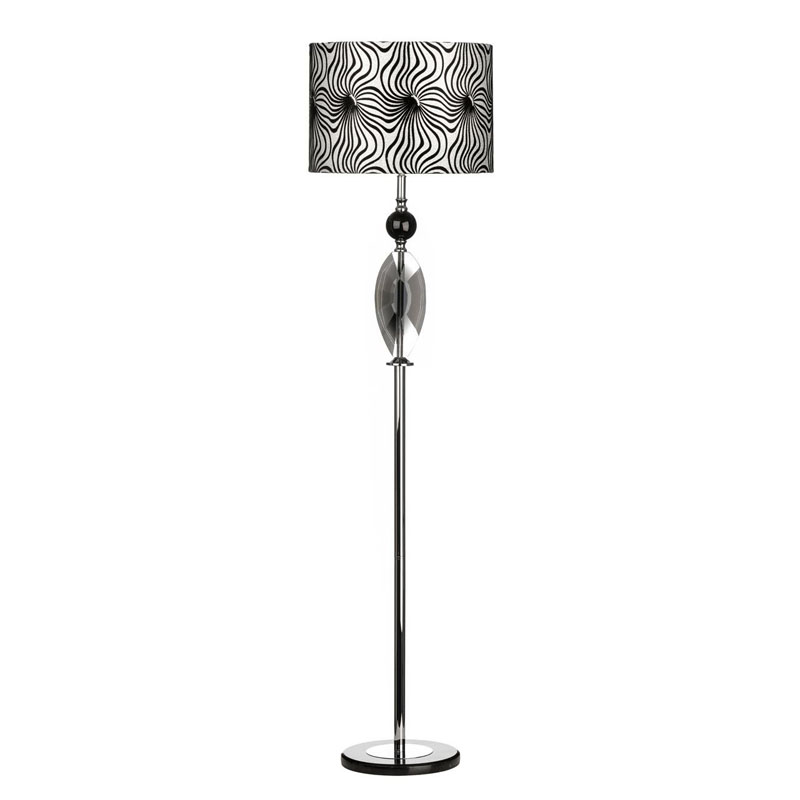 Azura Floor Lamp, Crystal/Metal Base, Fabric Shade