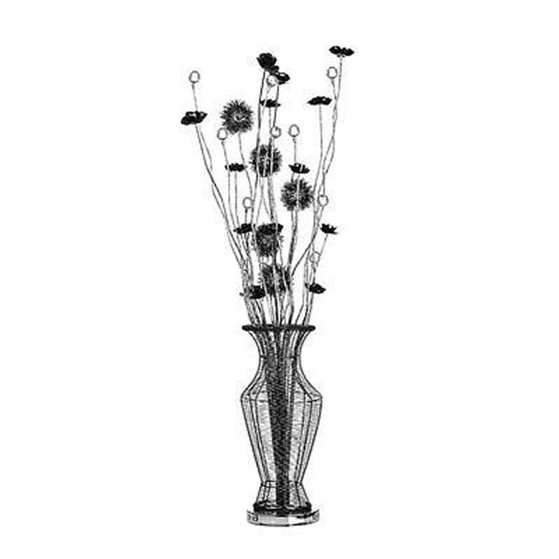 Flower Lamp,Black,Aluminium/Crystal Decoration