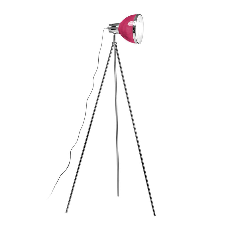 Floor Lamp, Tripod, Hot Pink Shade/Chrome