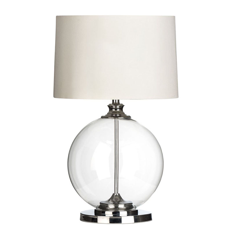 Stylish Clear Glass Table Lamp Chrome - Bedside/Desk Lamp Lighting