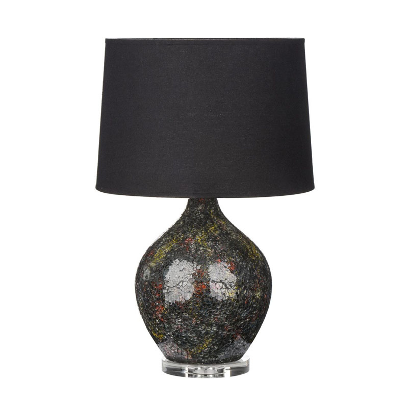 Feature Lamp, Colour Mix Crystal Mosaic, Black Shade