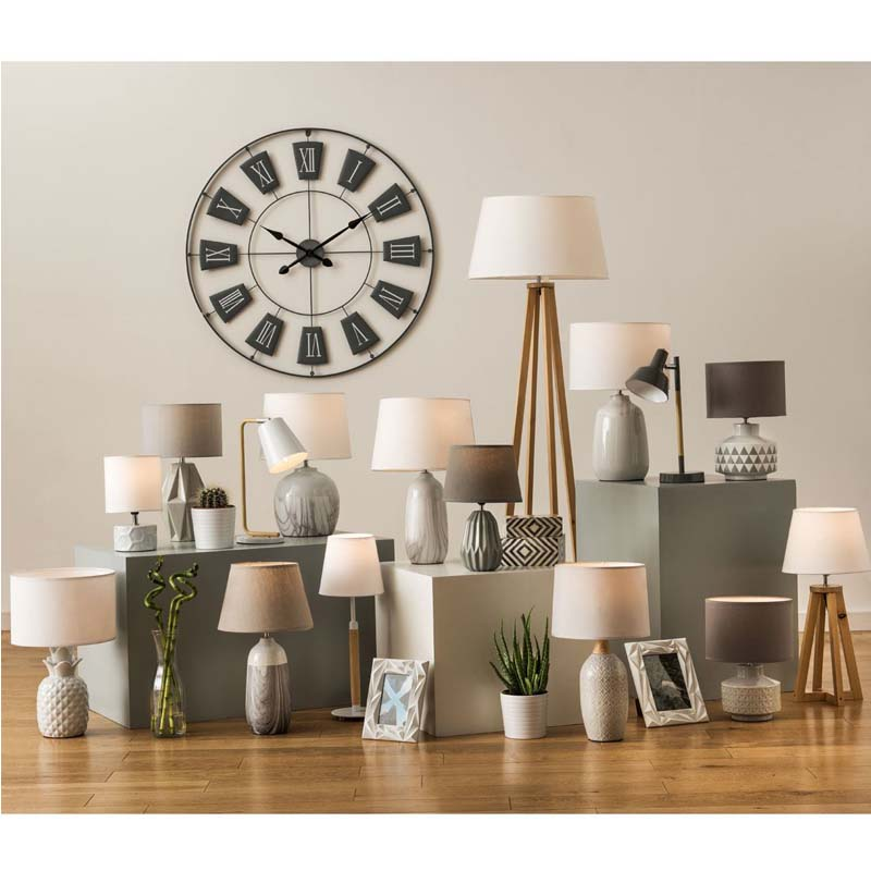 Honeycomb Design White Ceramic Base Table Lamp White Fabric Shade