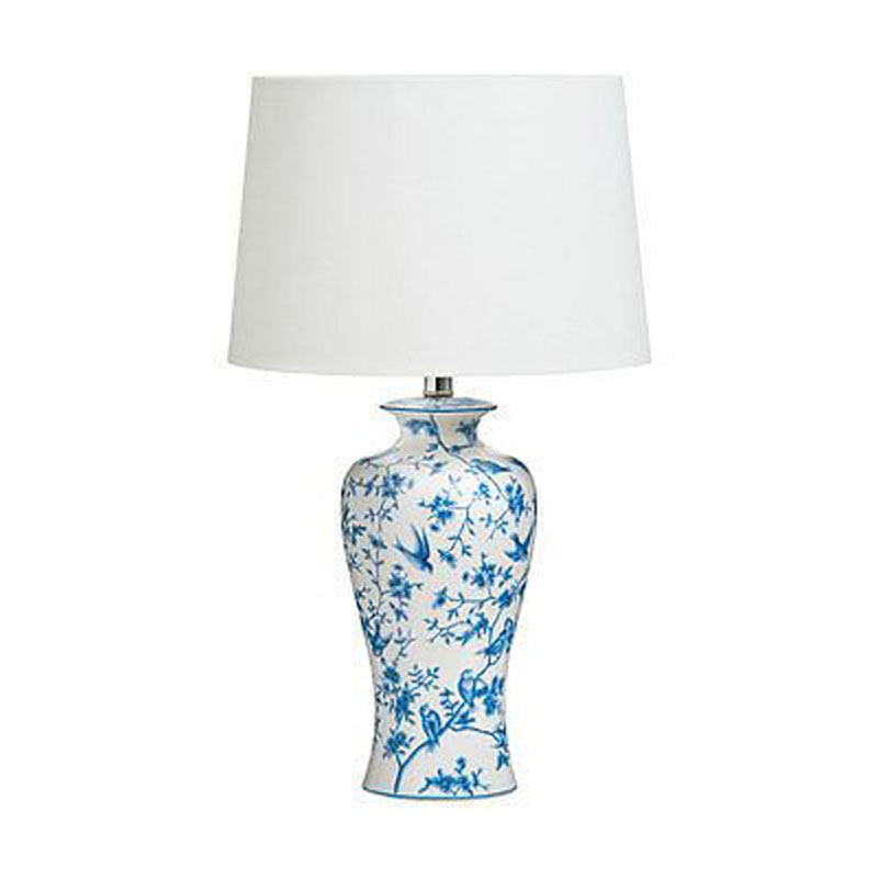 Andromeda Elegant Lighting Table Lamp Blue/White Ceramic Base
