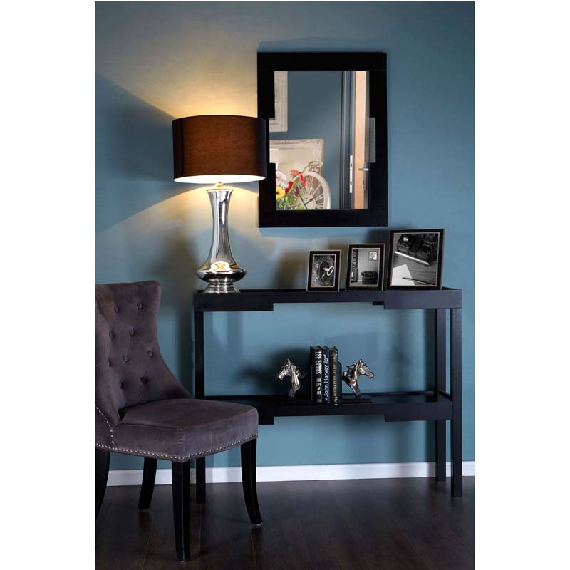 Caelum Bedside Ceramic Table Lamp With Stunning Black Fabric Shade