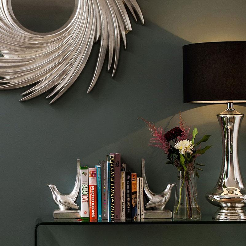 Caelum Bedside Ceramic Table Lamp With Stunning Black Fabric Shade