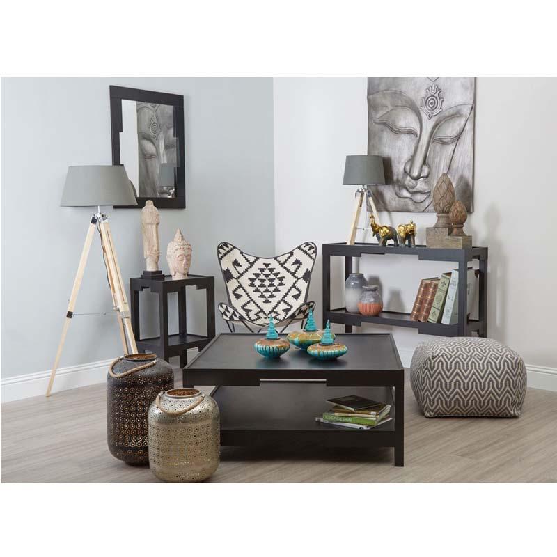 Tripod Floor Lamp, Grey Shade, Light Wood Base